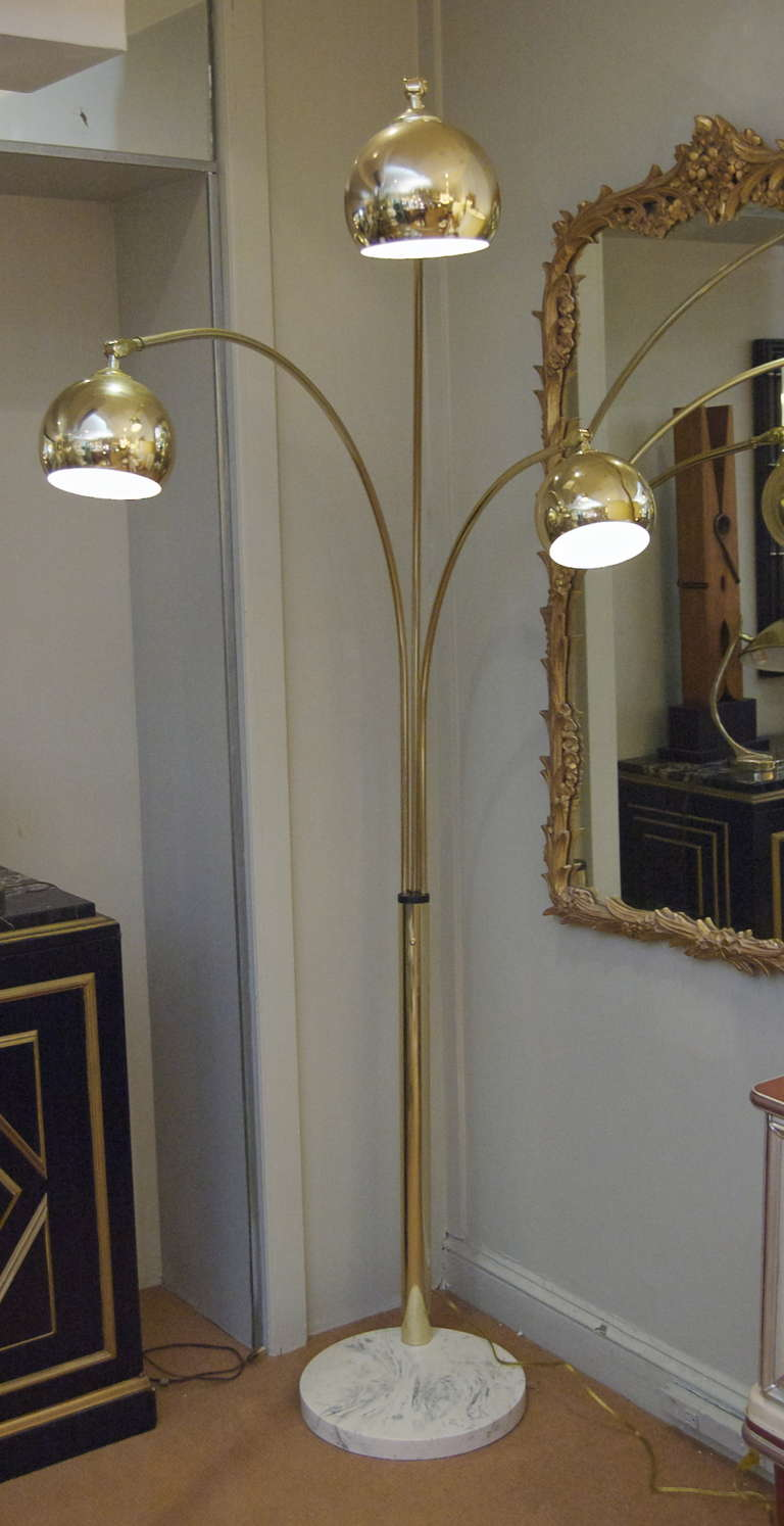 Vintage brass and marble three arm arc floor lamp at 1stdibs - Three Arm Arc Lamp In Brass With Marble 2