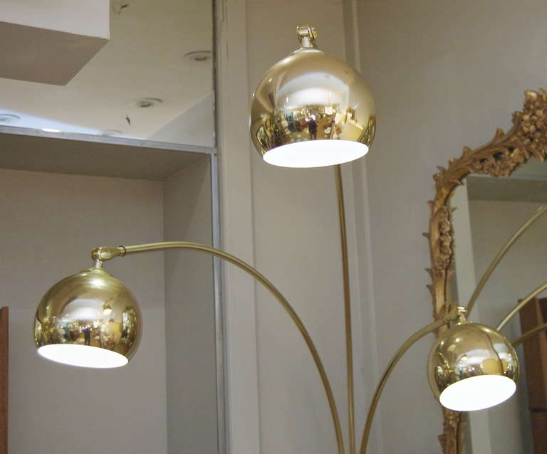 Three Arm Arc Lamp In Brass With Marble At 1stdibs