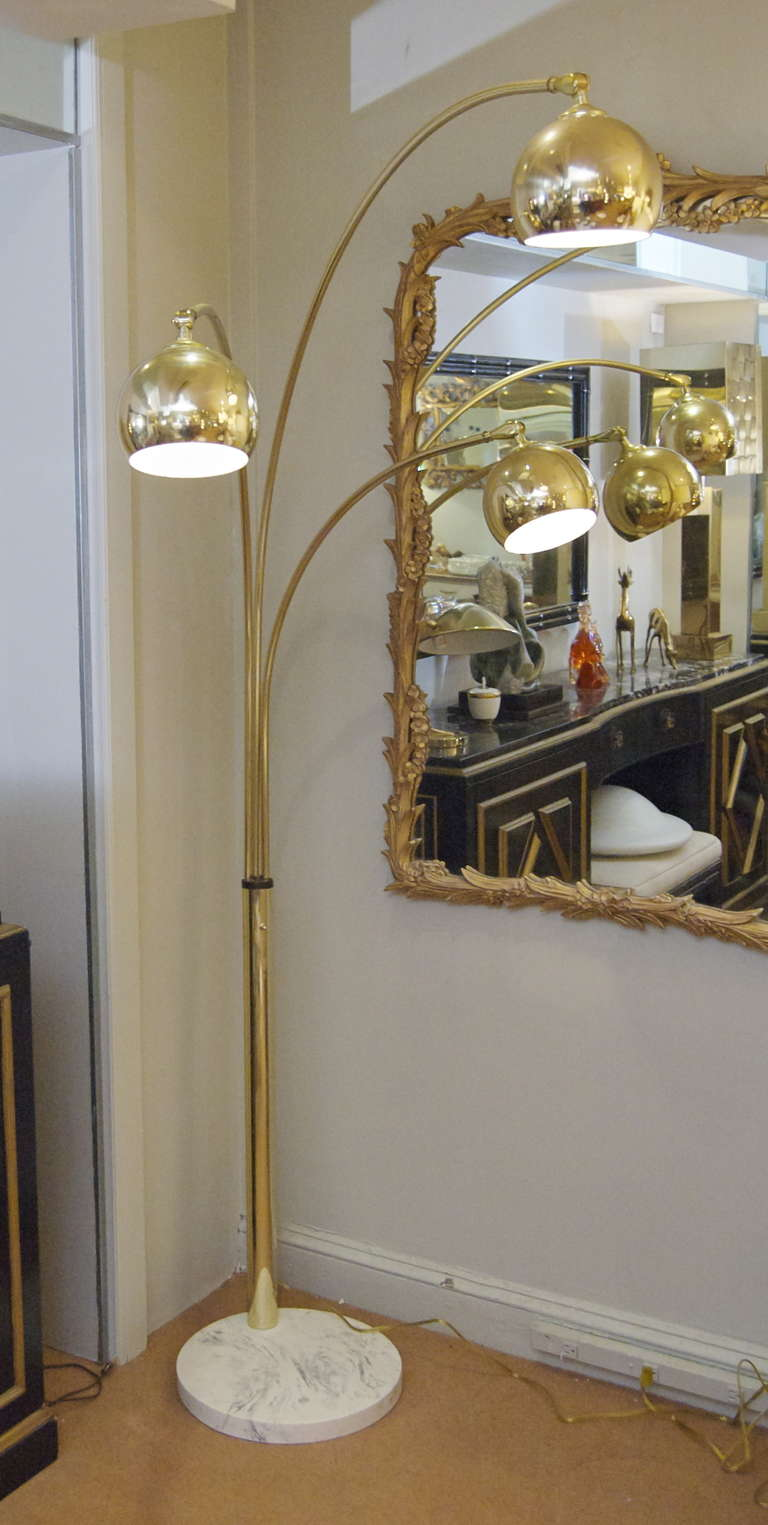 3 Arm Arc Floor Lamp >> Three Arm Arc Lamp in Brass with Marble at 1stdibs