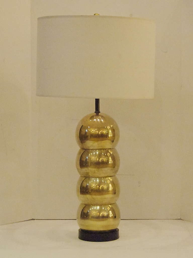 Kovacs Style Stacked Brass Orb Table Lamp At 1stdibs