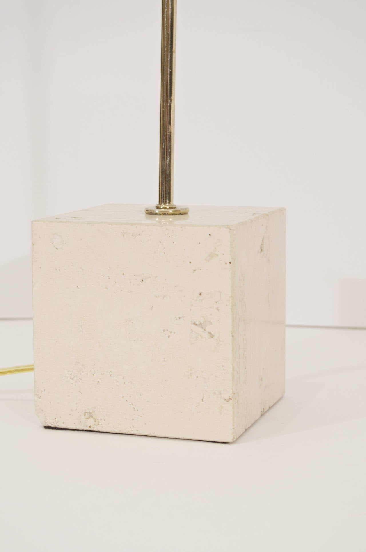 Guzzini Brass Arc Table Lamp With Travertine Base At 1stdibs