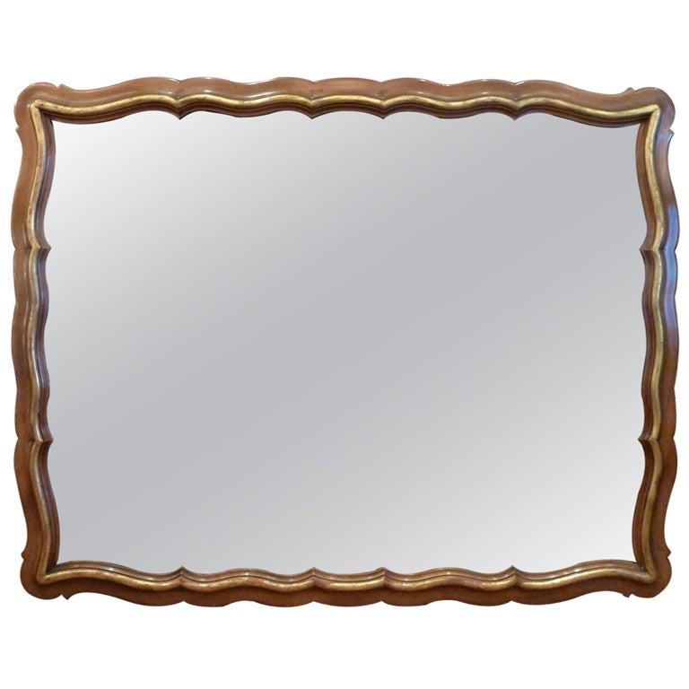 Generous Scalloped Mirror by Widdicomb For Sale