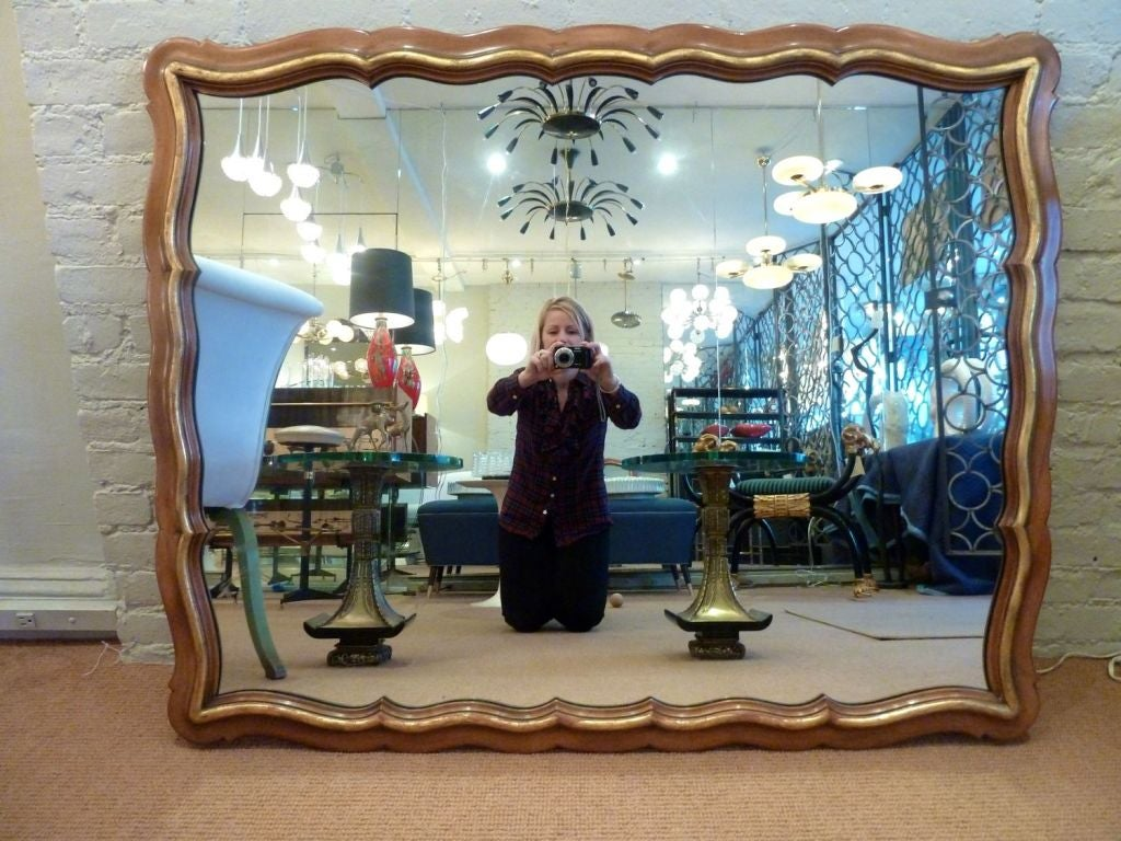 Generous Scalloped Mirror by Widdicomb In Excellent Condition For Sale In New York, NY
