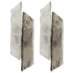 Pair of Kalmar Angular Smoke Glass Sconces