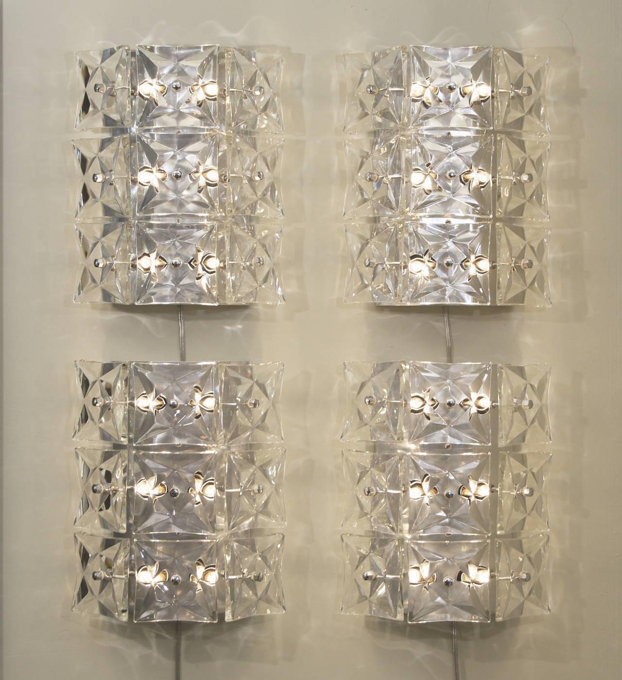 Pair of Massive Kinkeldey Square Crystal Sconces For Sale at 1stdibs