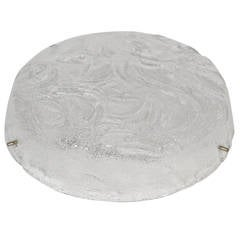Heavy Swirl Pattern RZB Leuchten Ice Glass Flush Mount