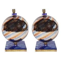 Eglosmisé Murano Glass Lamps, Pair