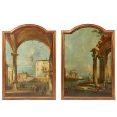 Large Pair of Early 19th Century Capriccios, Venetian School