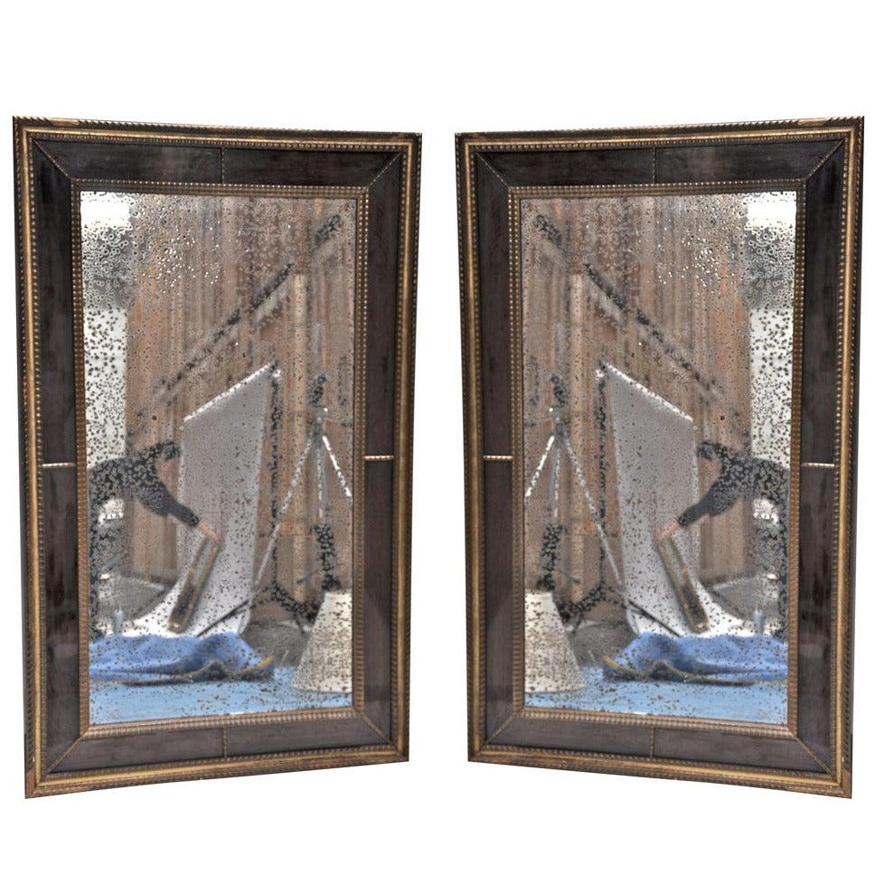 Pair of Verre Eglomise Gilt-Wood Mirrors