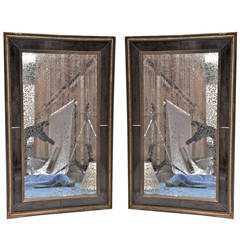 Pair of Verre Eglomise Gilt-Wood Mirrors