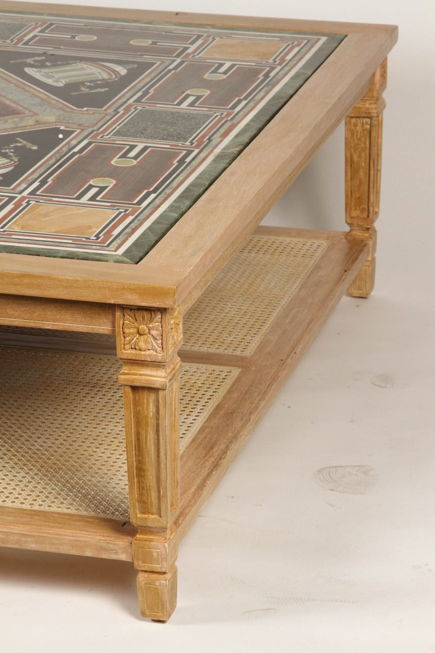 cerused mahogany coffee table with inlaid marble top and With marble coffee table with shelf