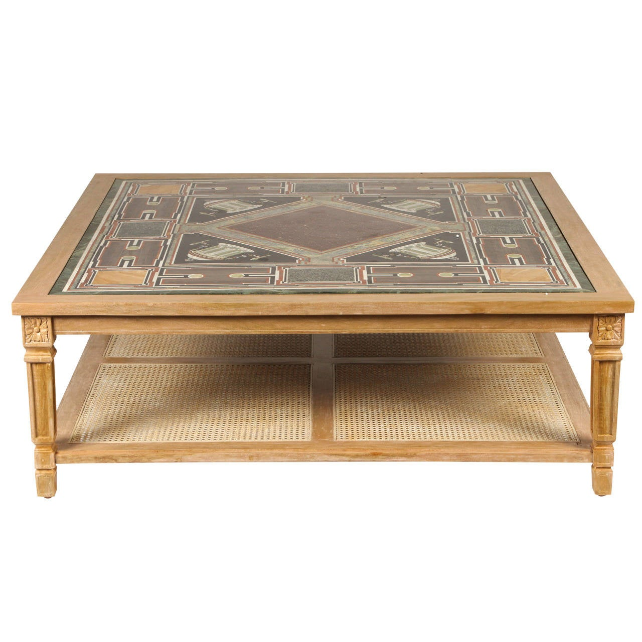 Cerused Mahogany Coffee Table With Inlaid Marble Top And Cane Shelf For Sale At 1stdibs