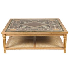Cerused Mahogany Coffee Table with Inlaid Marble Top and Cane Shelf