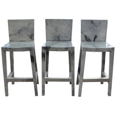 Set of Five (5) Karl Springer Grey Lacquered Goatskin Bar Stools
