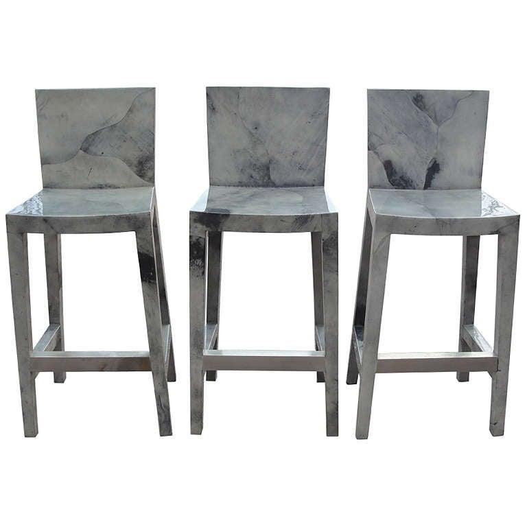 Set of Five Karl Springer Grey Lacquered Goatskin Bar Stools