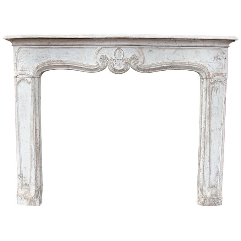 19th C. French Carved Wood Fireplace Mantel at 1stdibs