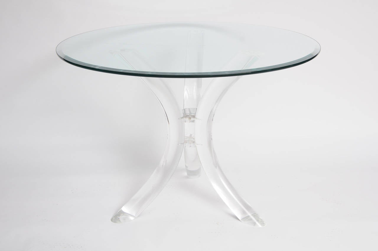 Marvelous Thick Tube Lucite Table Base And Glass Top 3