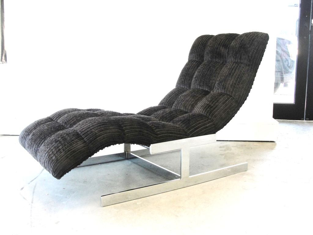 milo baughman waved lounge chair chaise longue at 1stdibs. Black Bedroom Furniture Sets. Home Design Ideas