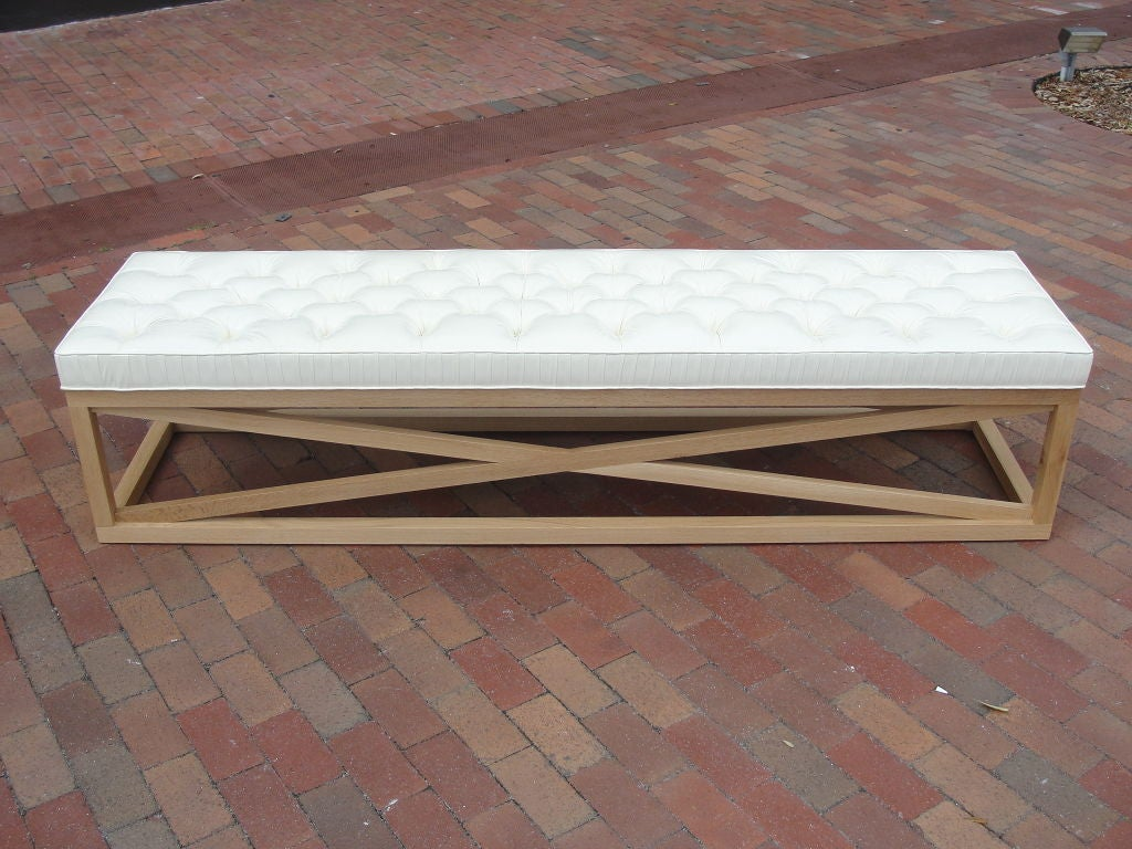 Oak Extra-Long Tufted Bench/Ottoman For Sale