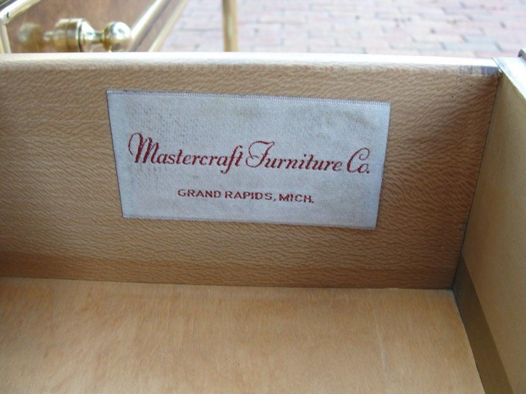 Mastercraft Amboyna Burled Wood & Brass Console image 8