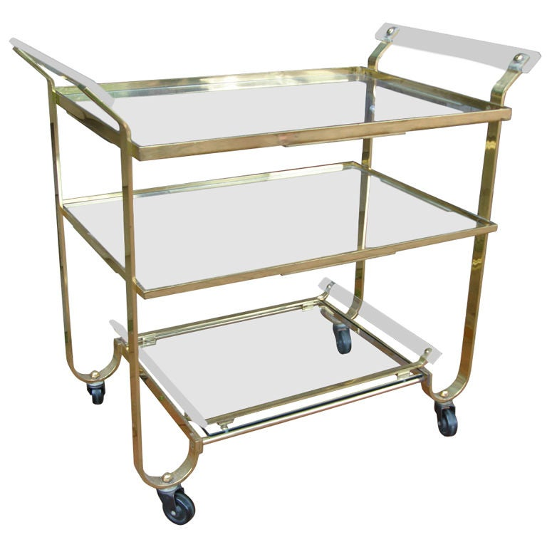 Brass and Lucite Barcart by Treitel Gratz
