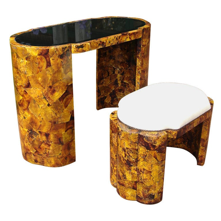 A Stunning Tortoise Shell Covered Vanity And Bench At 1stdibs