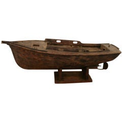 Early 20th C. Wooden Boat Model on Stand
