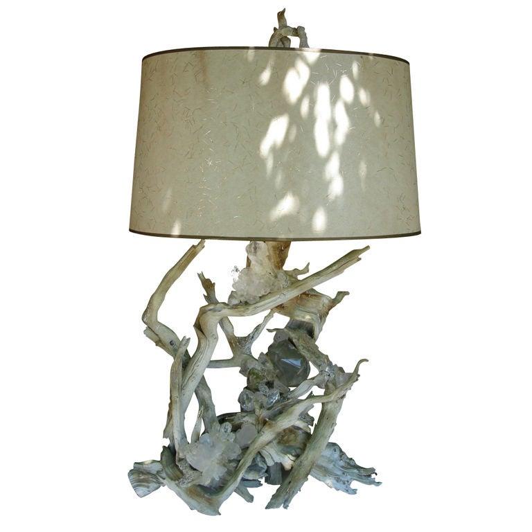 rare quartz crystal embedded driftwood lamp for sale at 1stdibs. Black Bedroom Furniture Sets. Home Design Ideas
