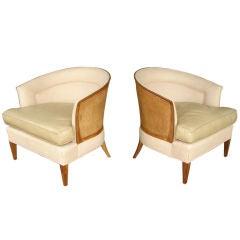 Pair of Sculptural Cane Back Club Chairs