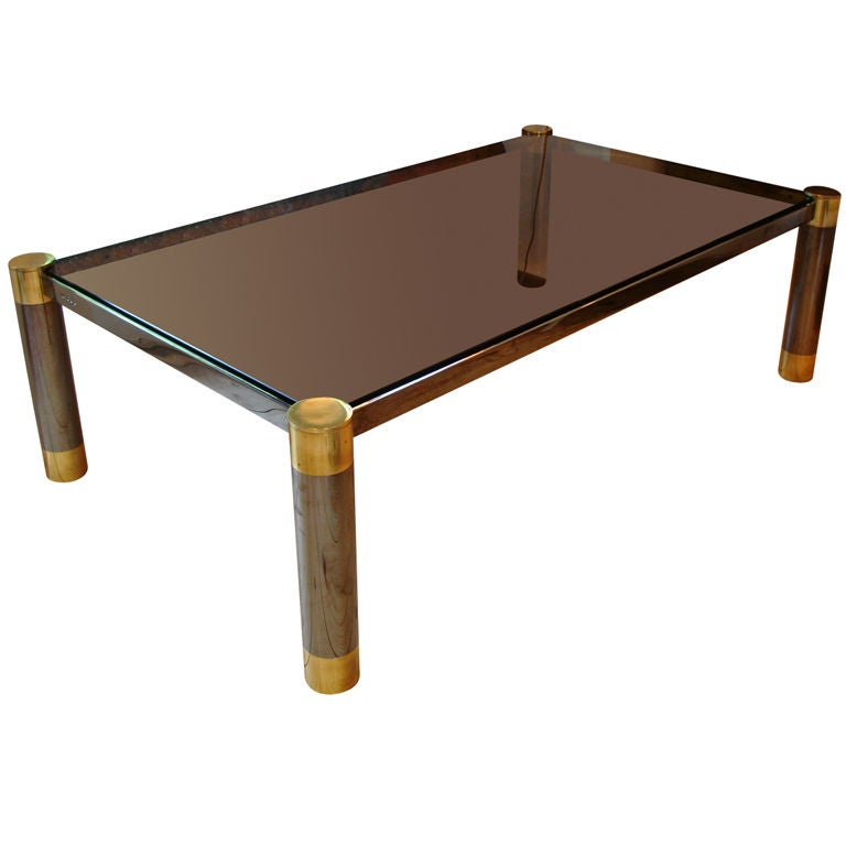 "French Connection Gunmetal Coffee Table: Karl Springer ""Round Leg Coffee Table"" In Steel And Brass"