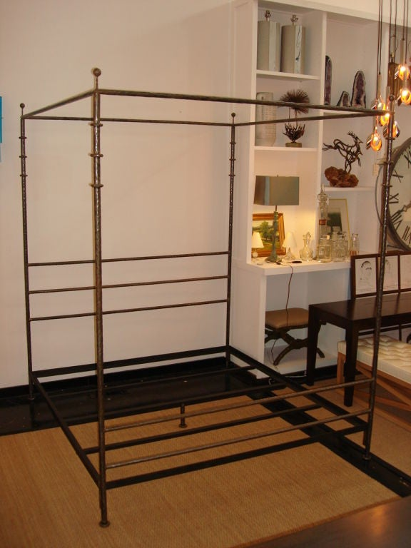 Four poster hammered iron king bed frame at 1stdibs - Mattress made of balls ...