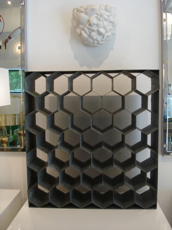 Vintage Honeycomb Wine Rack On Galvanized Metal At 1stdibs