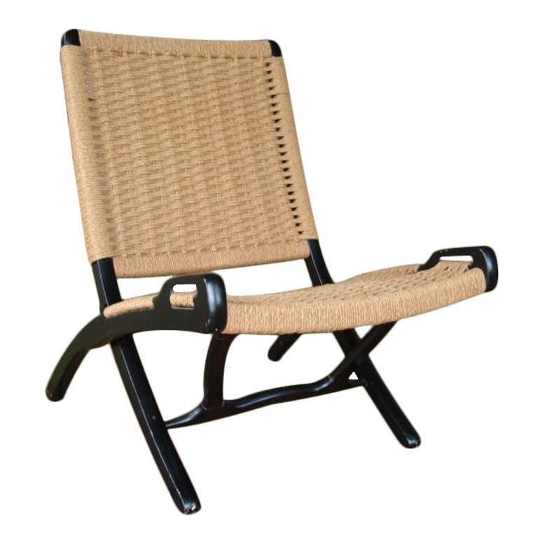 Vintage Woven Rope Folding Chair   Style Of Hans Wegner 2