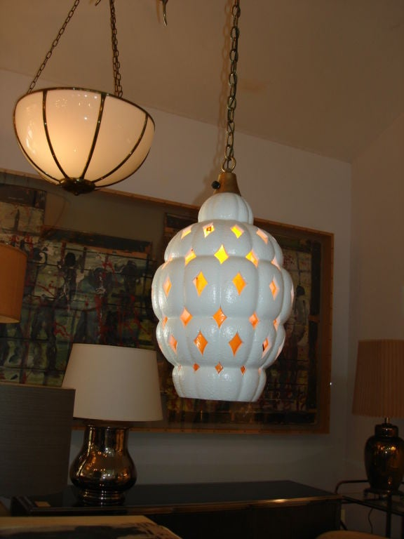 Vintage Ceramic Beehive Design Hangling Light At 1stdibs