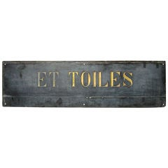 19th C. French Textile Shop Sign in Carved Gilded Black Slate