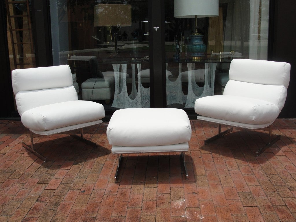 Pair of kipp stewart white leather chairs and ottoman at for White leather sofa and chair