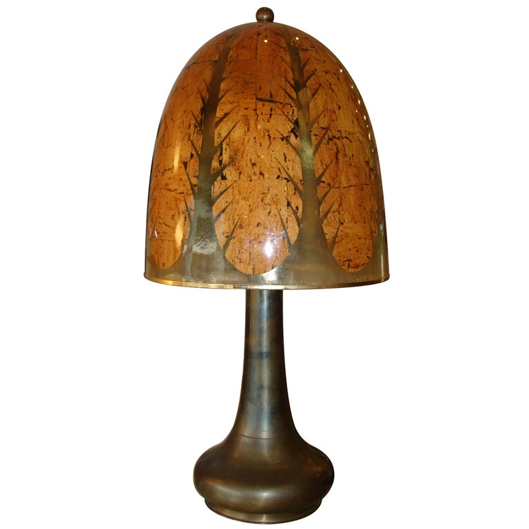 Rare Oversized Tobacco Leaf Resin And Brass Table Lamp At
