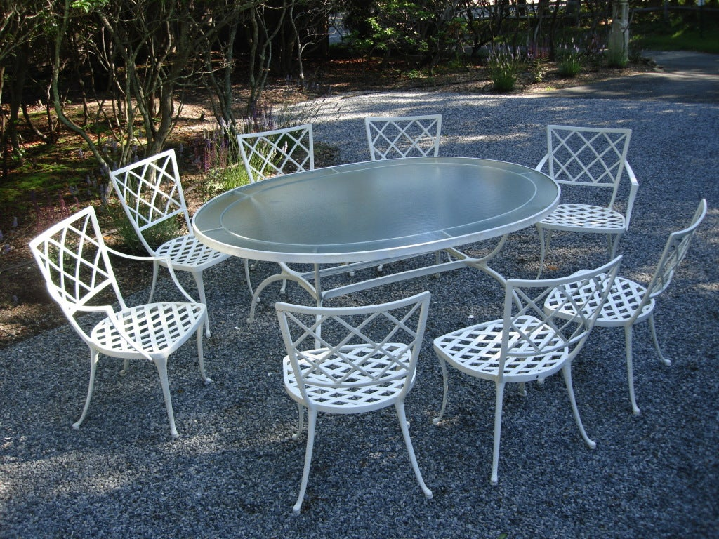 Exquisite Brown Jordan Garden Set Table And 8 Chairs At