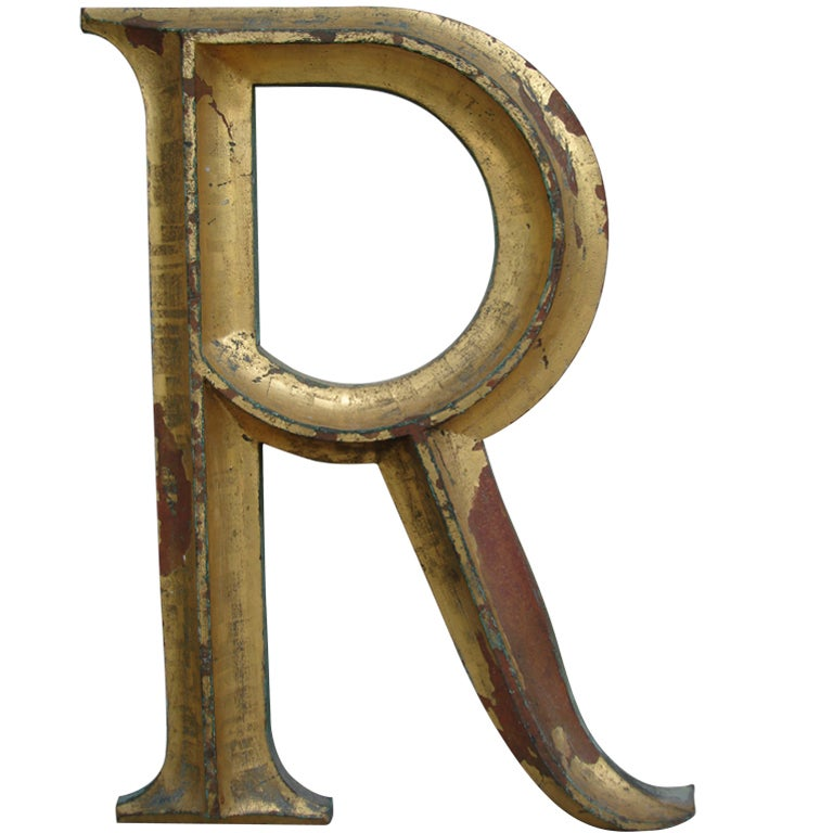 19th c gilded cast iron letter r at 1stdibs for Furniture 5 letters