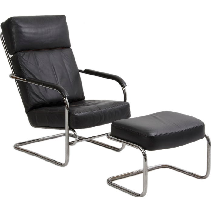 Art Deco Style Chrome And Leather Chair + Ottoman 1