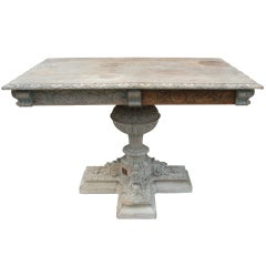 19th C. Distressed Swedish Carved Table
