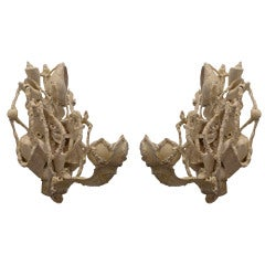 Pair of Grotto Style Shell Encrusted Sconces