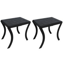 Pair of Iron and Woven Leather Top Benches