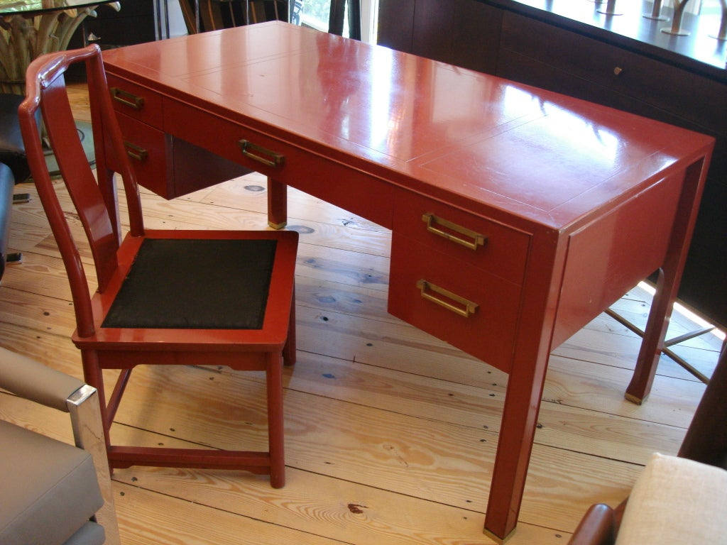 Vintage asian style baker red desk and chair at 1stdibs for Asian inspired desk