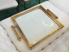 Vintage Brass and Glass Drinks Tray