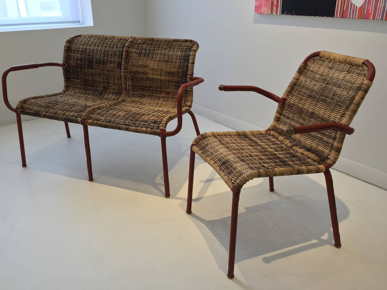 Jacques Adnet Early Stitched Leather and Wicker Set 2