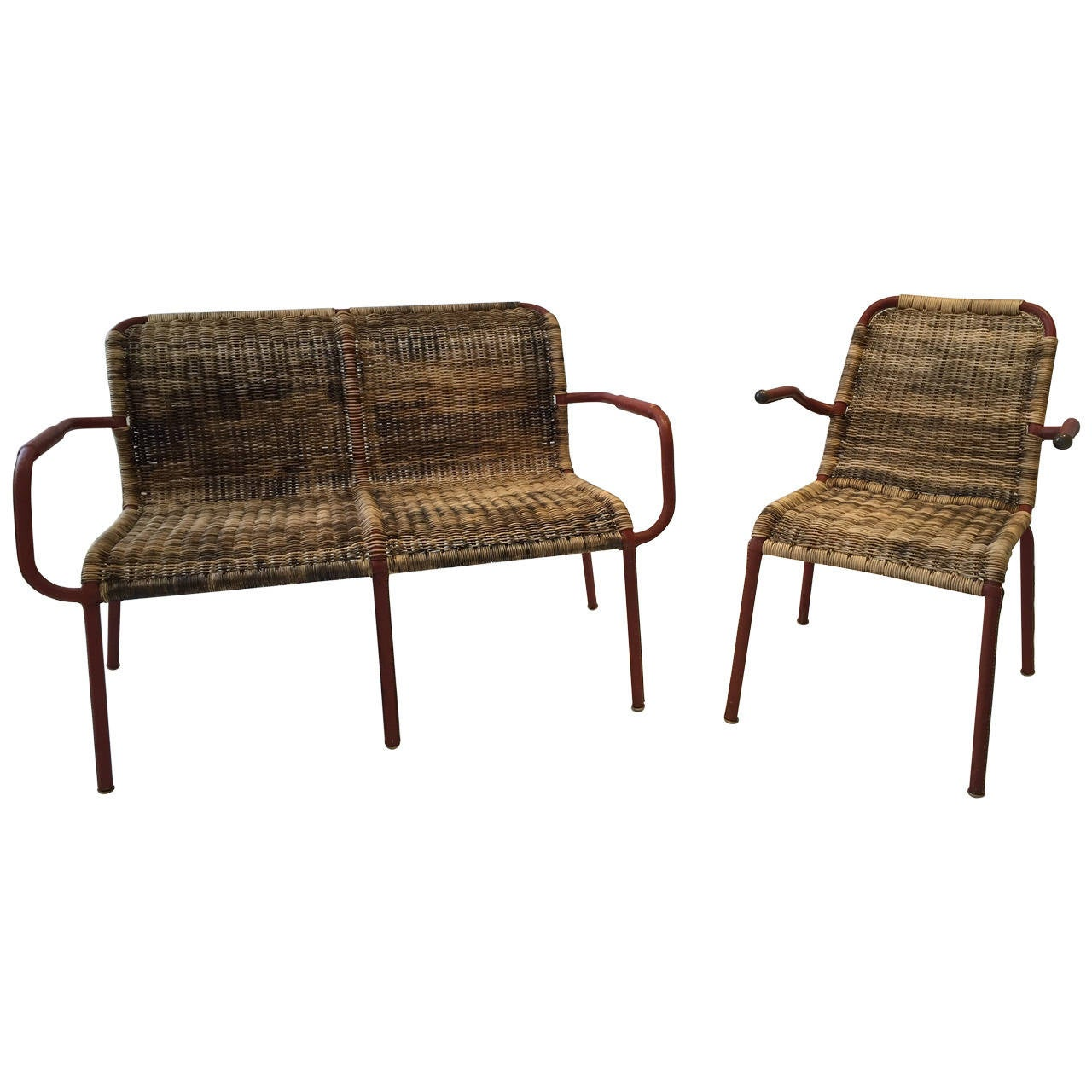 Jacques Adnet Early Stitched Leather and Wicker Set 1