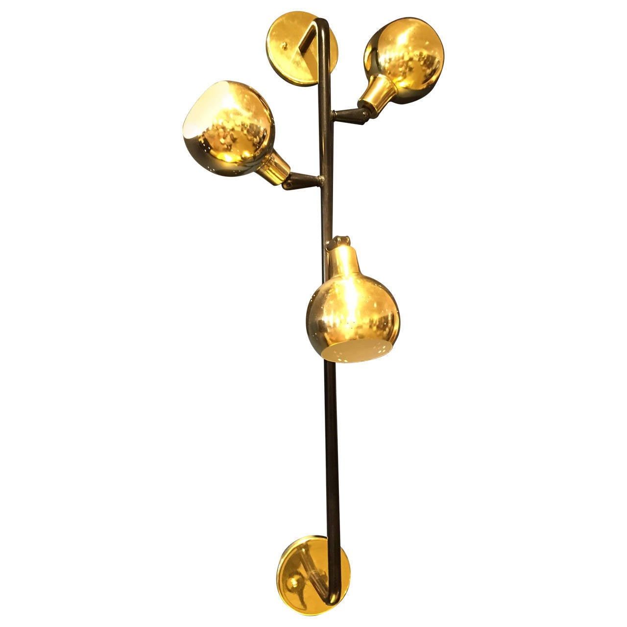 Three Globes in Brass Wall Light For Sale at 1stdibs