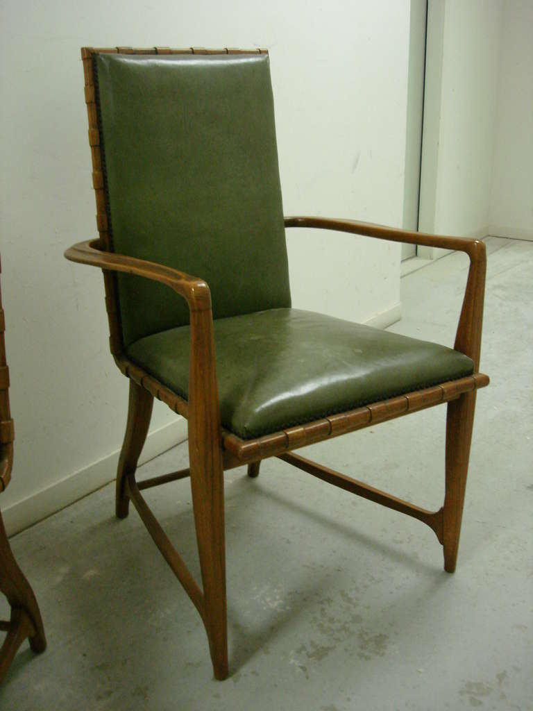 Six Leather and Oak Dining Chairs by Harold Schwartz for Romweber – Green Leather Dining Chairs