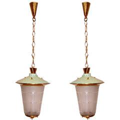 Pair of Mid-Century Italian Hanging Lanterns